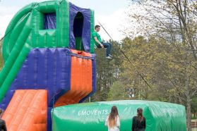 Inflatable jump tower and air bag